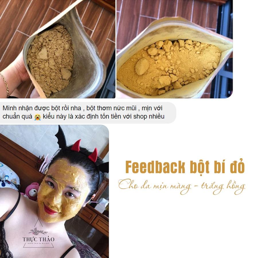 Phản hồi tích cực từ khách hàng sau khi dùng mặt nạ bột bí đỏ Thực Thảo dưỡng da