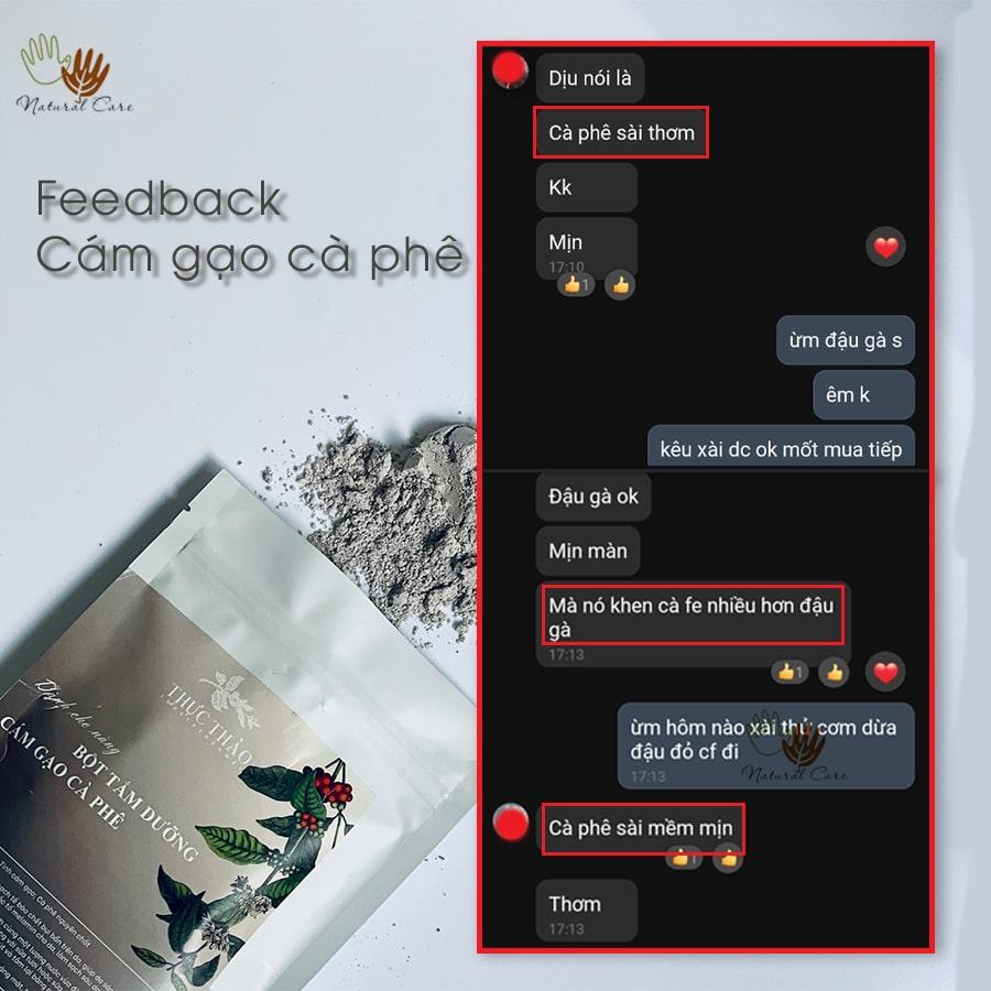 Bột tắm dưỡng cám gạo cà phê được khách hàng phản hồi tích cực